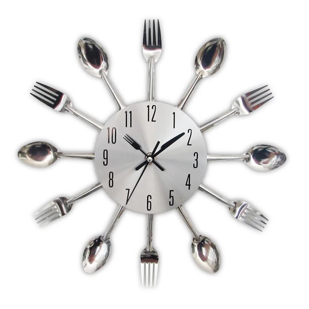 מטבח תשמיש שעון-כסף-שרירי מזלגות, כפות, Spatulas קיר שעון מטבח דקור, ייחודי כיף מתנה
