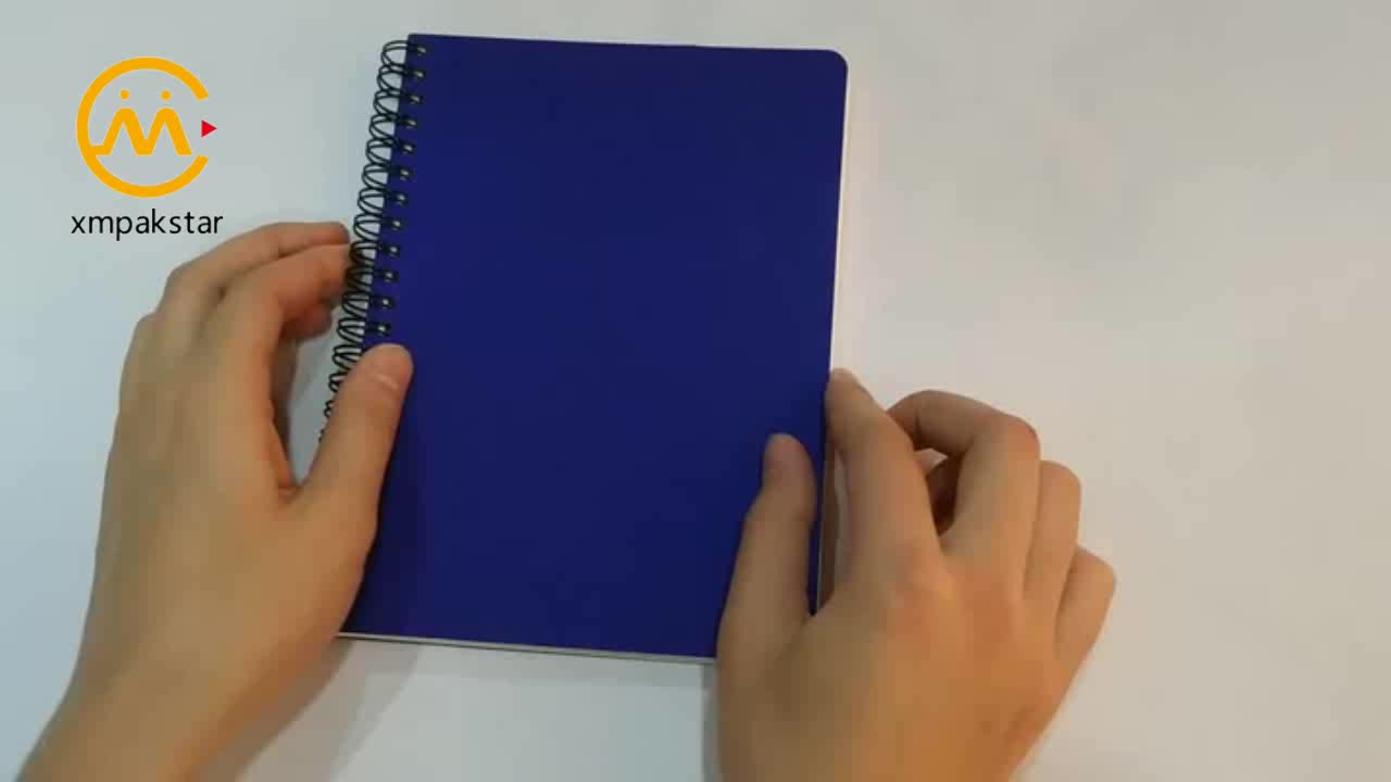 A4 A5 A6 custom size blue soft cover hot stamping low price spiral notebook for student