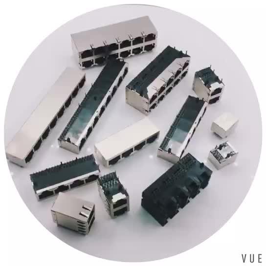 8 pin Blindado RJ45 conectores jack 2*1 porta transformador pcb mount conector rj45 com leds