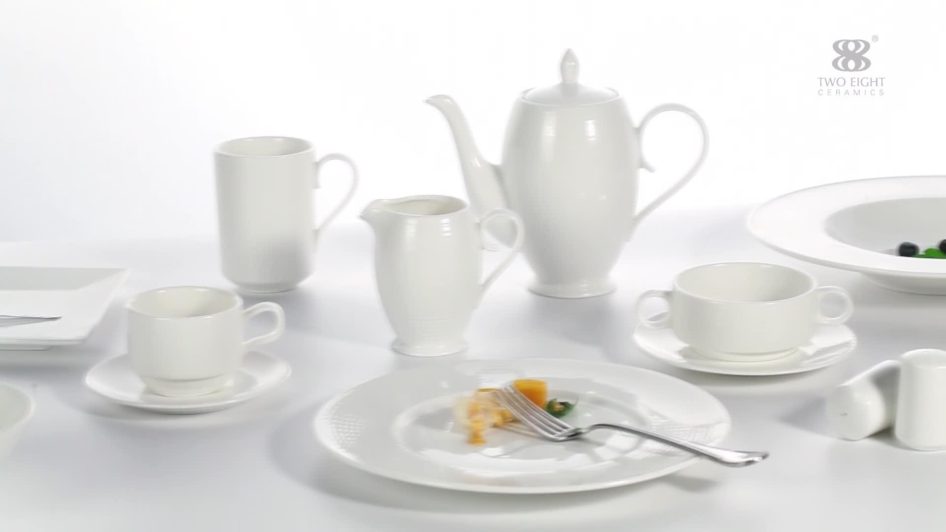 Производитель Китай недорогой модный износостойкий fine hotel белая керамическая посуда set