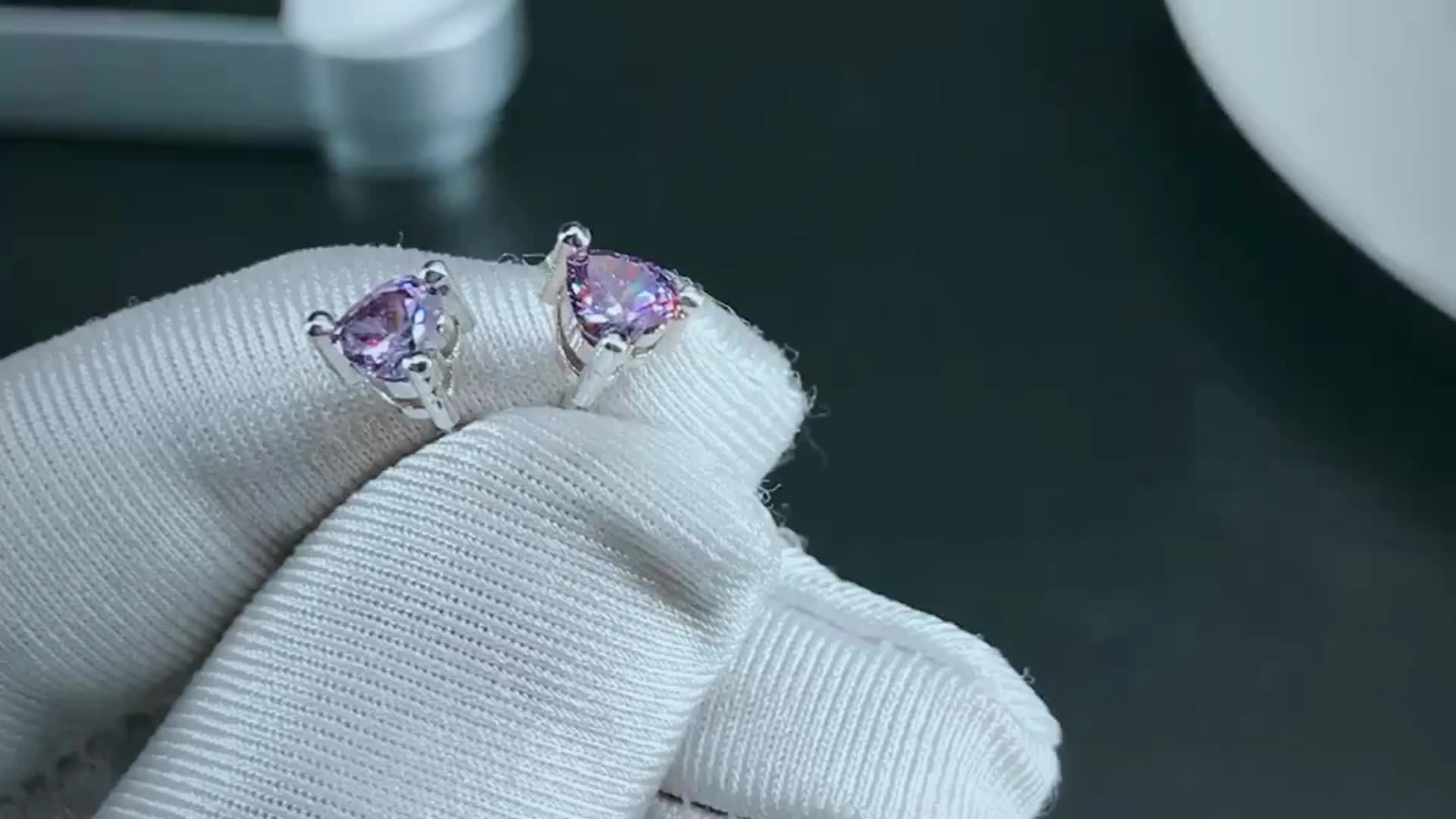 Wholesale unique design heart shapes purple crystal stone white gold plating studs earrings jewelry for women