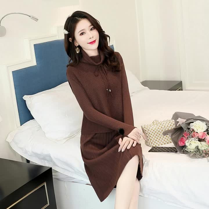 Wholesale korean style high neck top and long sleeve slim fit knit dress sweater set