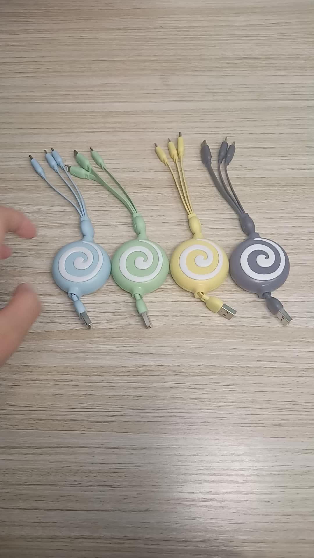Amazon Zubehör Universal für iPhone Micro USB-C Versenkbare USB Kabel