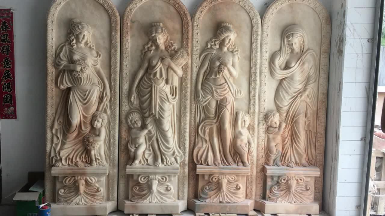 Mão esculpida em pedra do sol vermelho quatro estações senhoras relevo em mármore estátuas