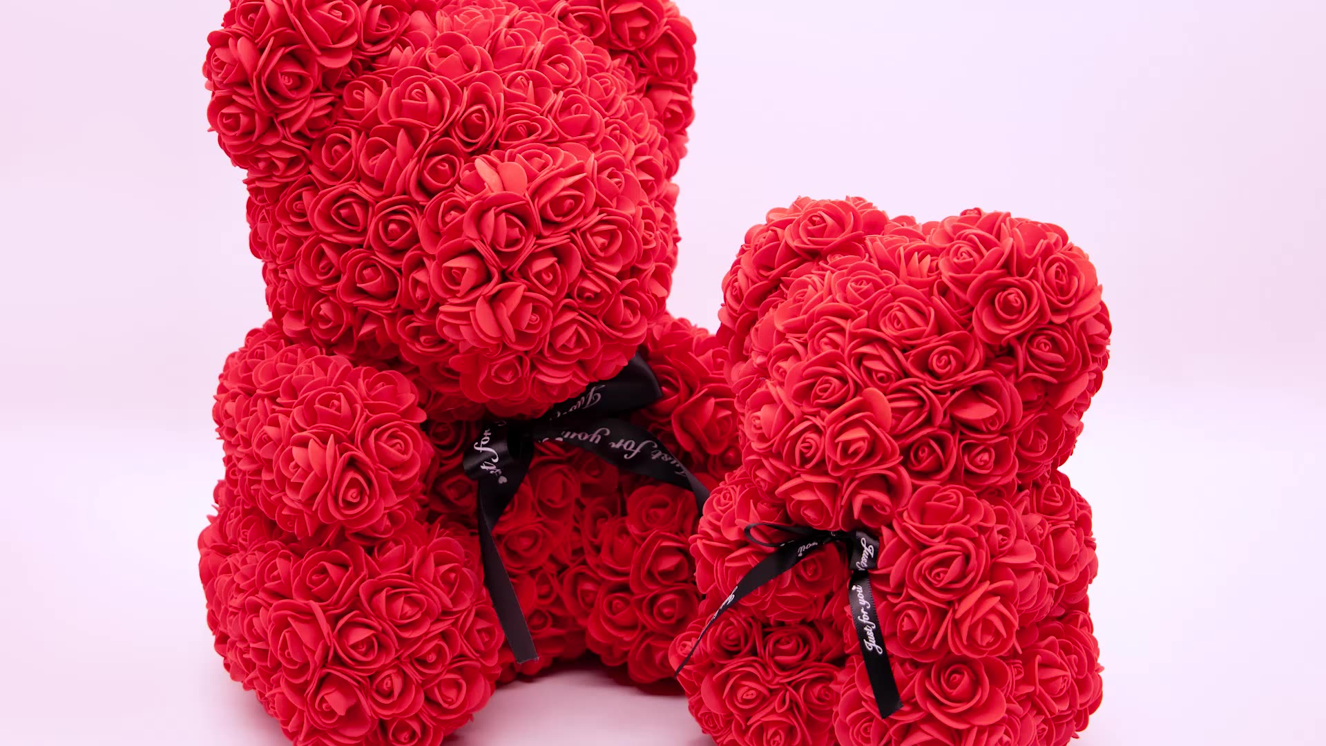 High Quality Artificial PE 25CM Colorful Red Rose Bear Teddy Bear Rose With Ribbon Valentine Day Gifts
