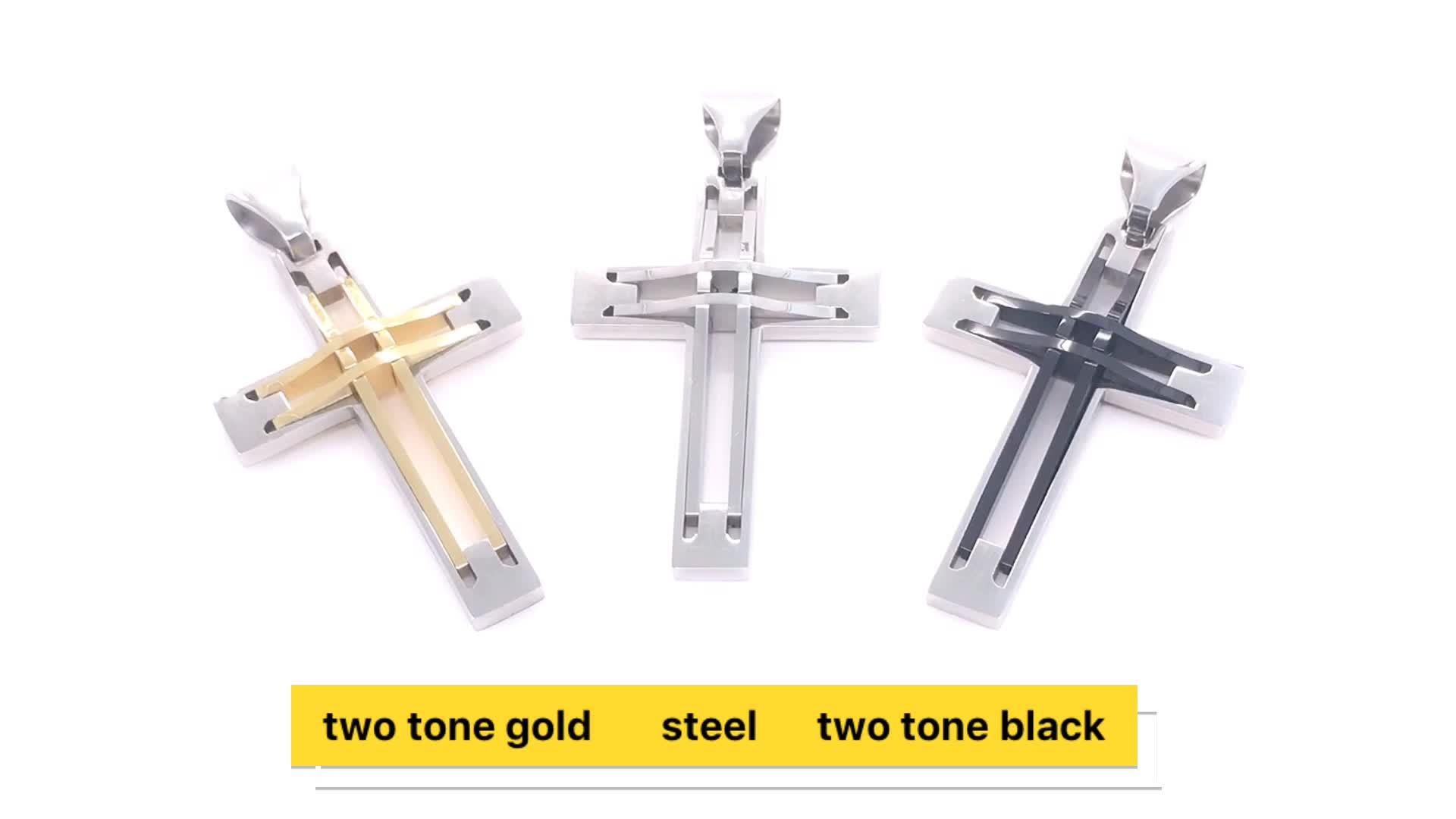 En acier inoxydable religieux croix pendentif bijoux