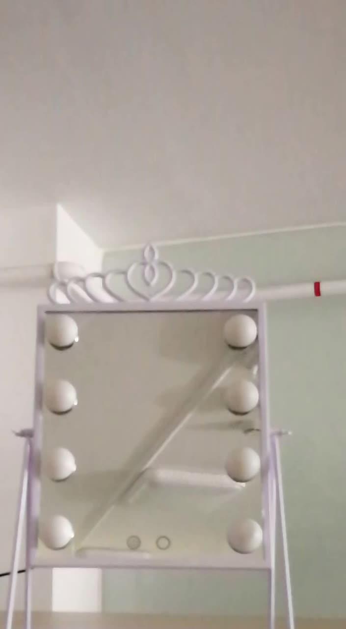 O brilho ajustável destacável dobrável conduziu o espelho cosmético iluminado com 8 blubs conduzidos