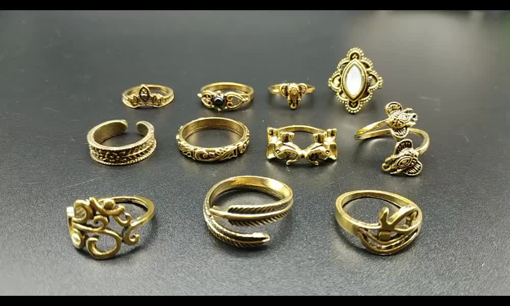 Explosion gold color imitation pearl 9 pcs set ring jewelry snake totem ring flower joint ring