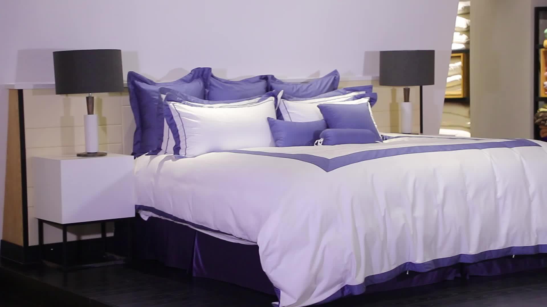 Customized Logo 1CM Satin 100% Polyester Duvet Cover Water Proof Hotel Hospital Bedsheet Set