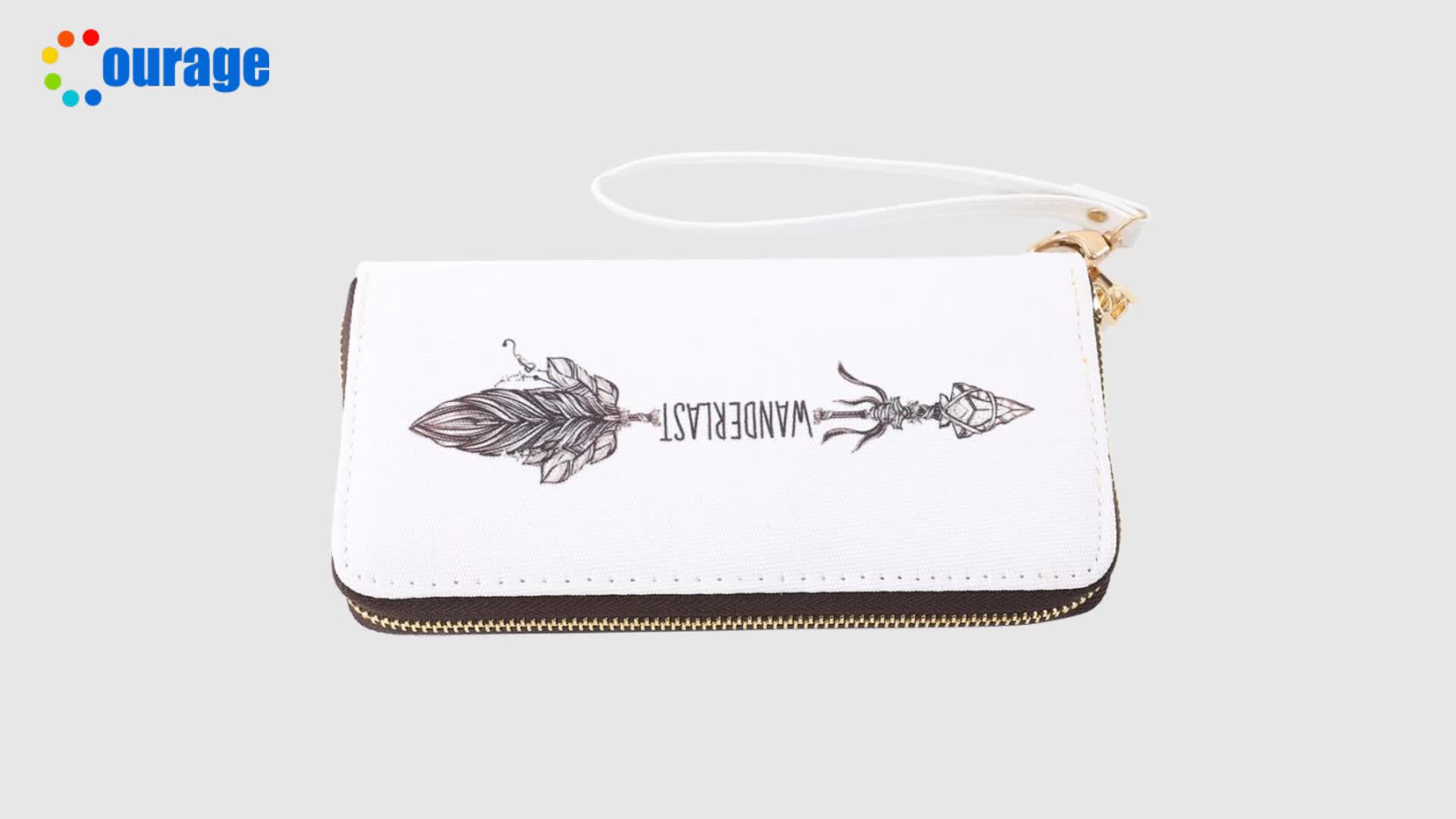 Blank for custom sublimation printing zipper canvas long wallet for lady