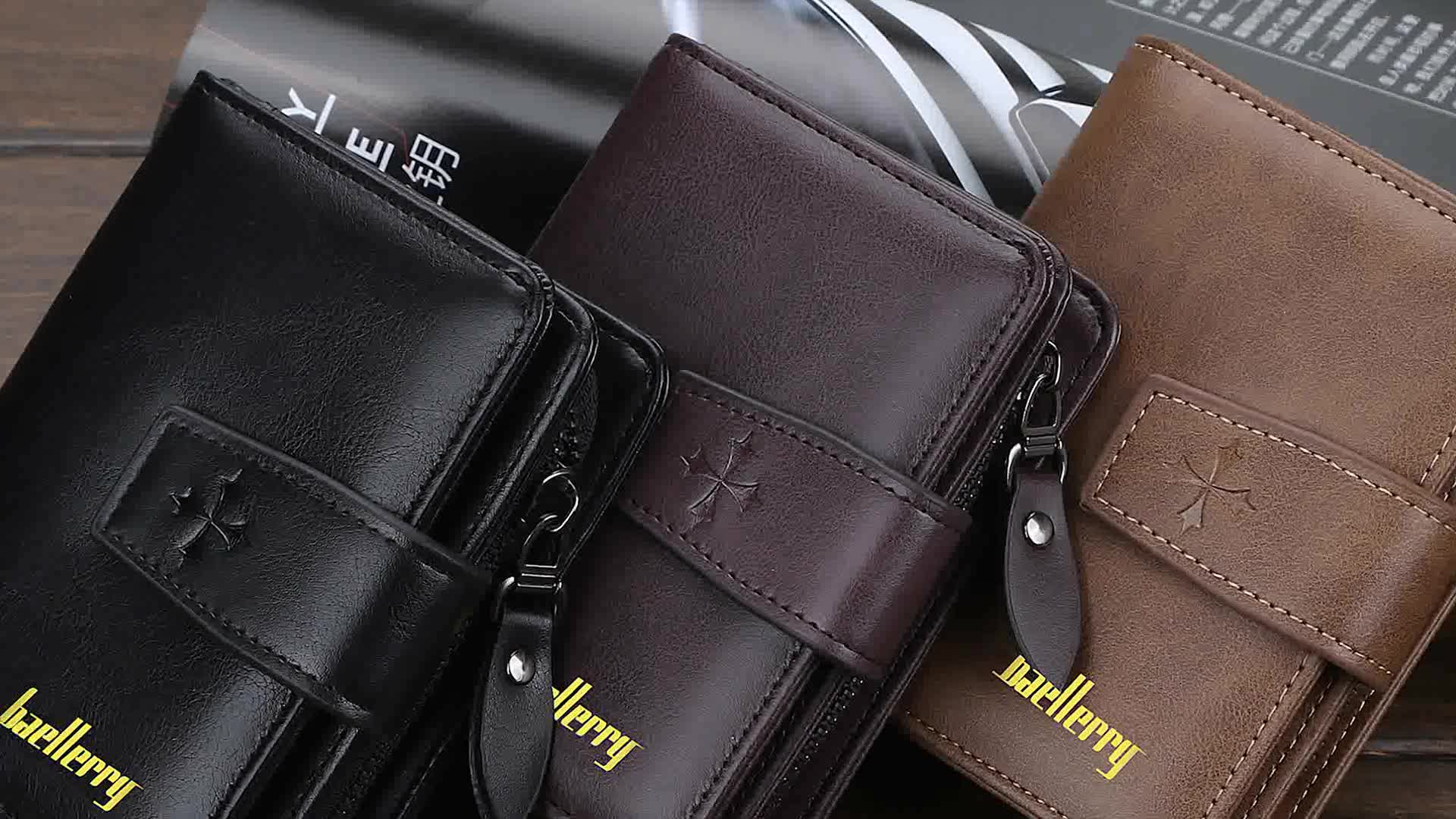 New Style Baellerry Large Capacity Multi-card positions Short Zipper Wallet For Men,Four-leaf Cover Coin Purse Card Holder Case