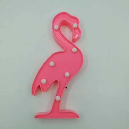 LED Light Flamingos Pink Night Lamp Romantic Battery Powered Marquee Flamingo Table Lights for Home Wall Room
