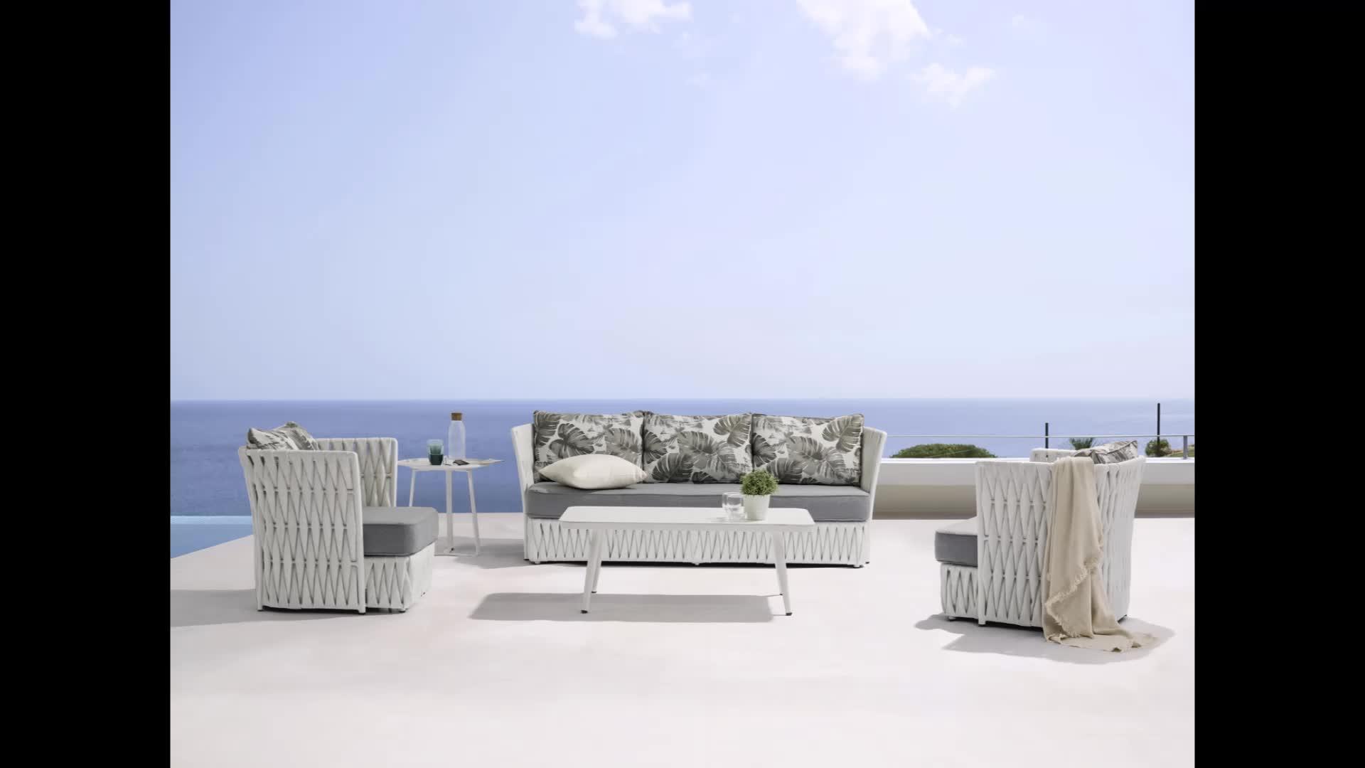 TOPHINE outdoor furniture fancy Garden Aluminium Wicker rattan cushions sofa sets