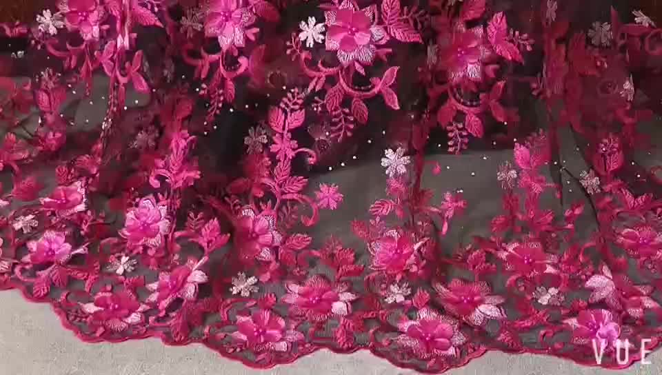 African Lace Fabric Latest Gray 3D Flower Lace High Quality embroidered French Mesh French Lace Fabric With Beads  XZ2555B