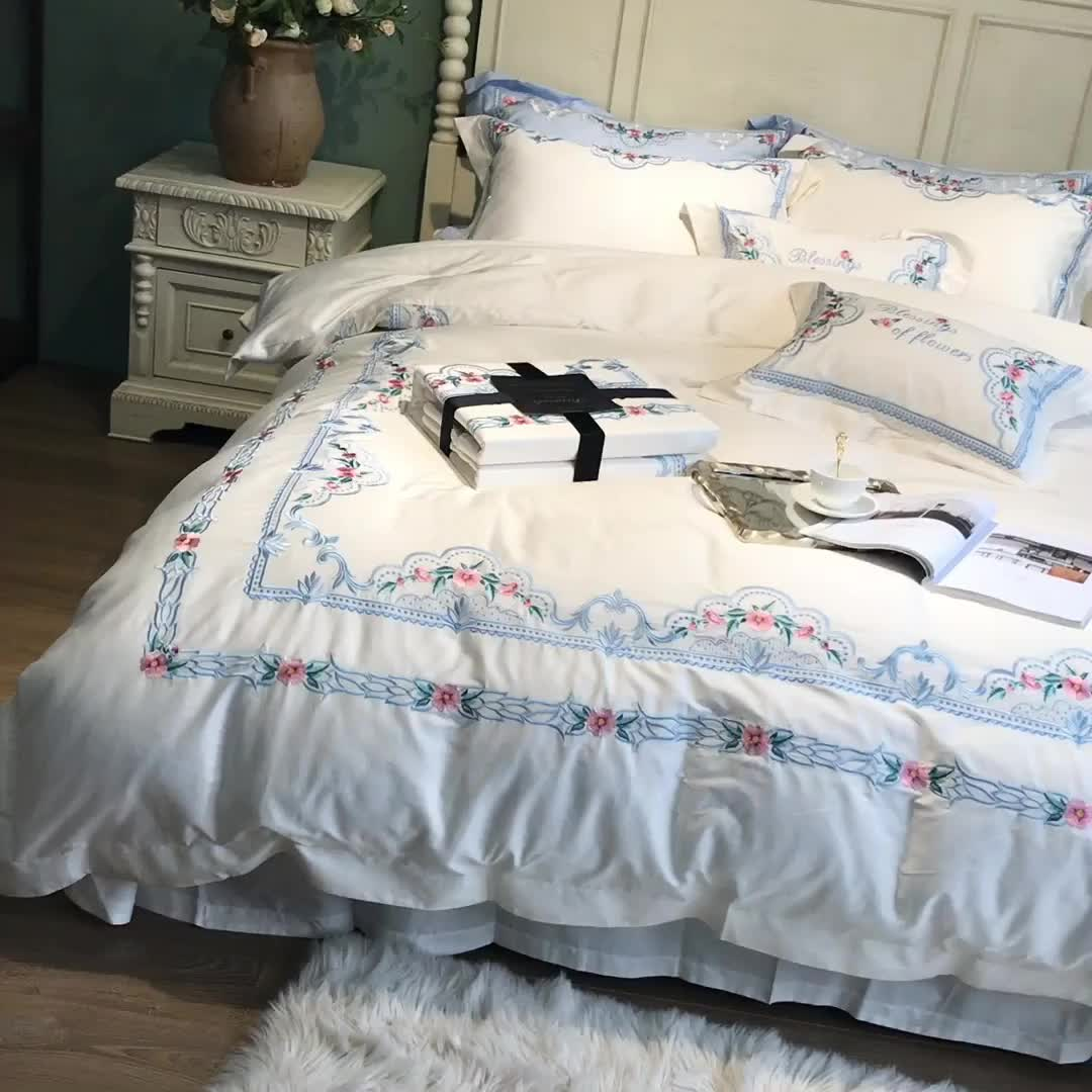 High-end home use 8pcs jacquard 100% cotton blue comforter cover queen embroidery bedding sets for adults