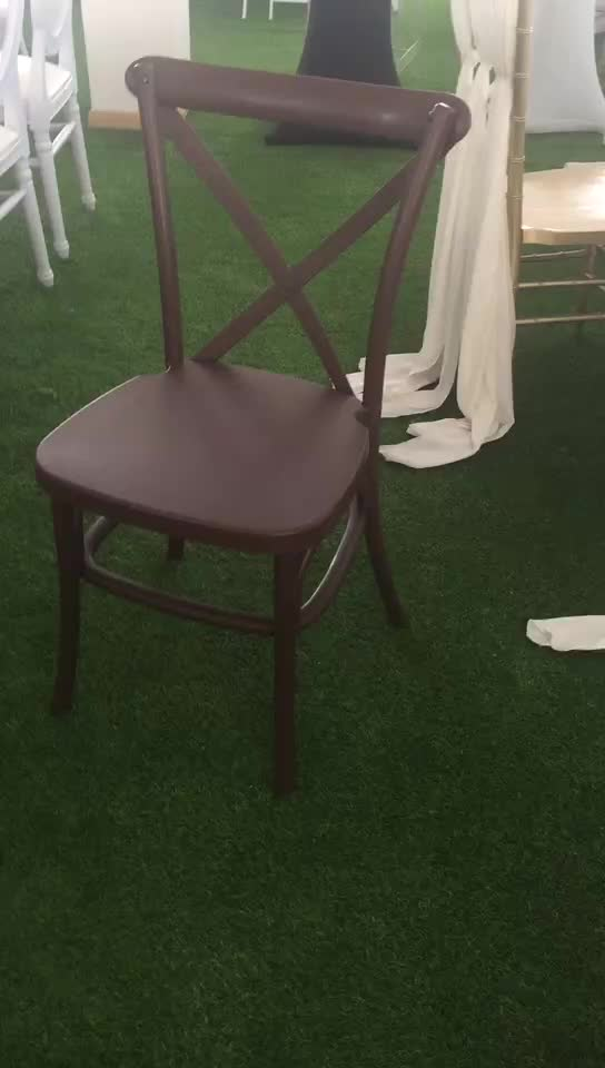 Popular resin stacking wedding cross back dinning chair