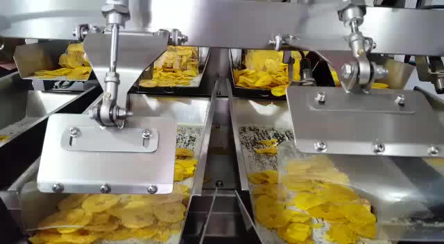 4 head multihead weigh filling packing machine for chocolate chips snacks