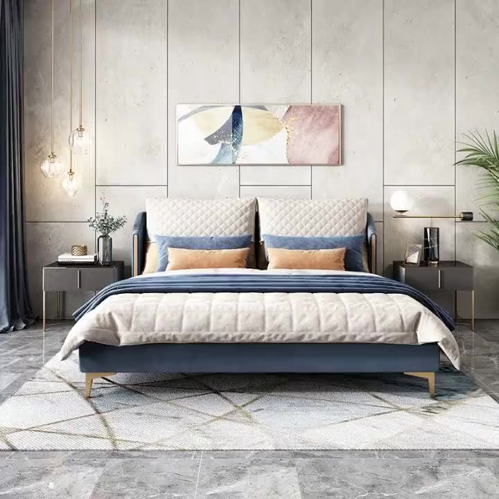 Luxury Modern Design House Wedding Fabric Bed King Queen Size Master Bedroom Bed Furniture