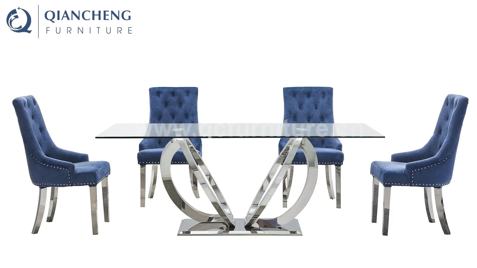 ダイニングルームの家具ステンレス鋼デザイン強化ガラストップダイニングテーブルと 6 椅子セット