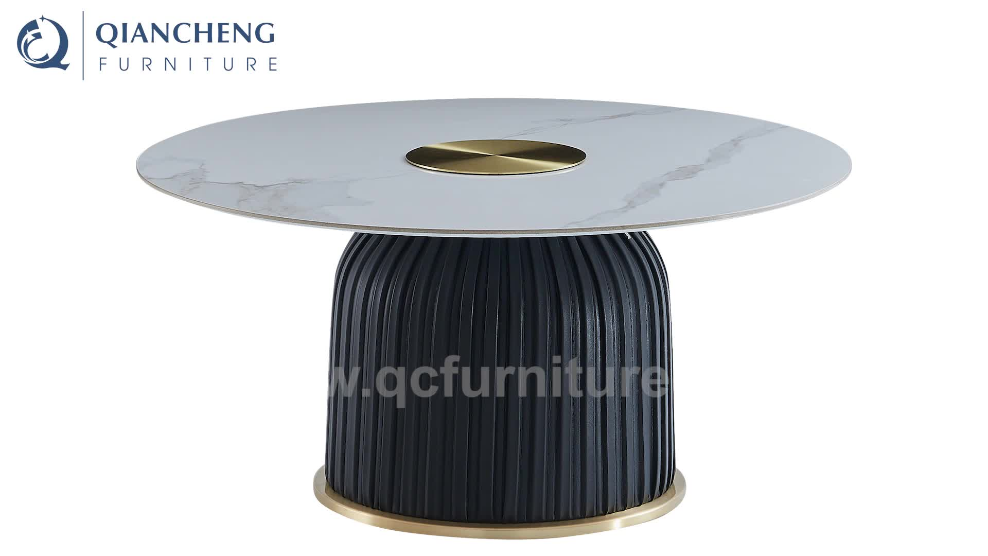 luxury golden stainless steel top with round base coffee table