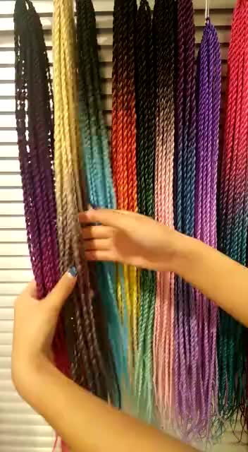 Дропшиппинг 24 ''100g эффектом деграде (переход от темного к Сенегал 120 цветные 3S вязаный крючком, Сенегальские закрученные волосы средняя коробка косы