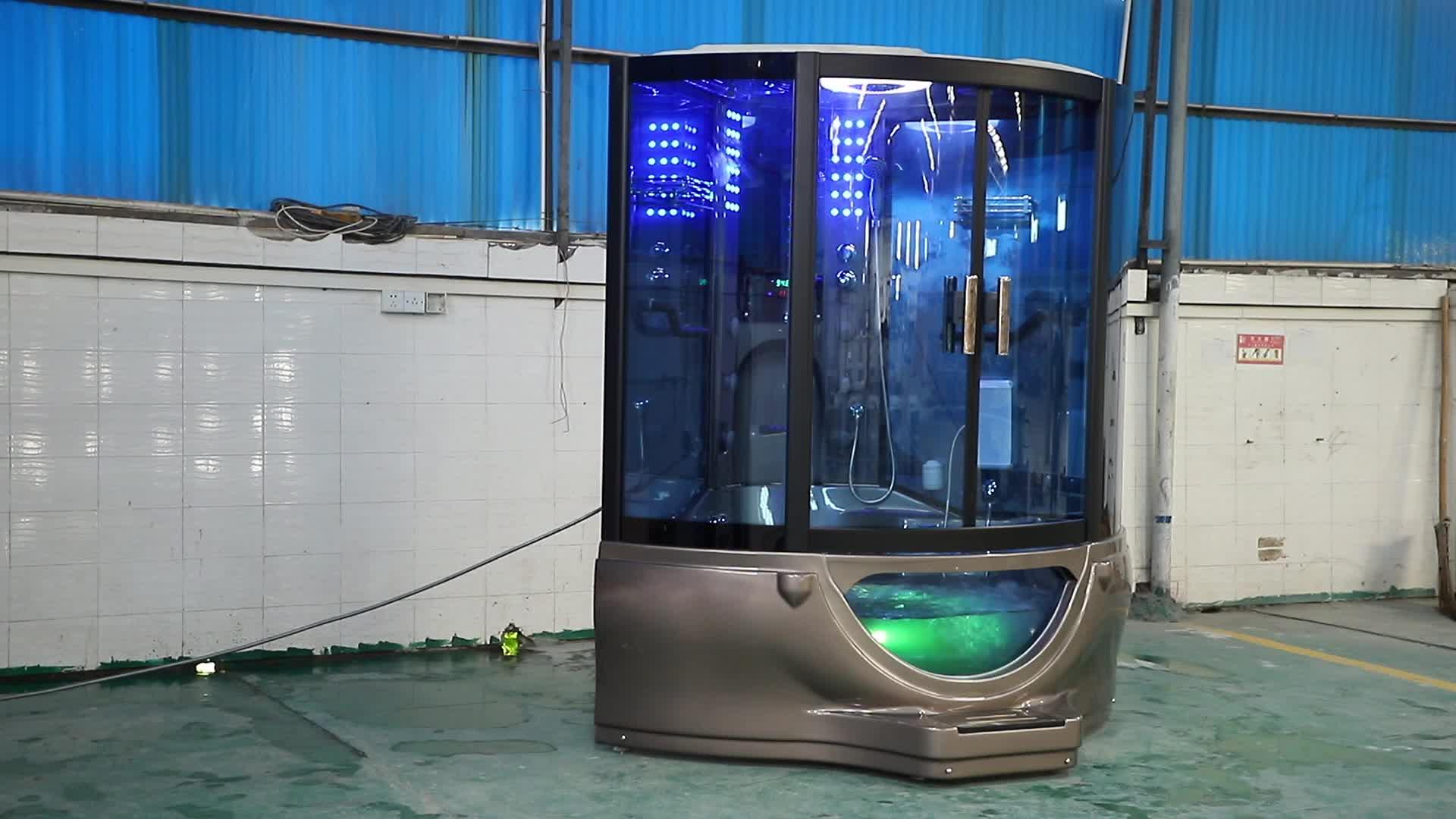 Sala de vapor do chuveiro do banheiro duplo massagem chuveiros com TV