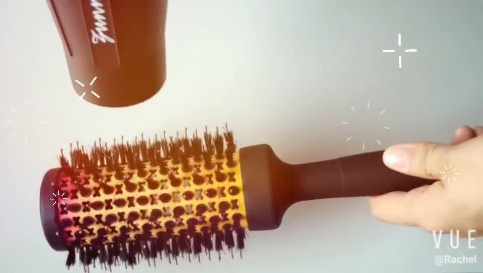 factory price prosonalized heat round nano technology and ionic hair salon ceramic hair brush