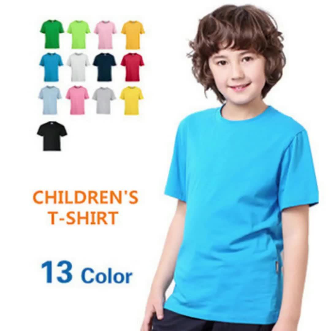 تيشيرت أطفالي بأكمام قصيرة من القطن بنسبة 100% سادة من أفضل المبيعات بسعر الجملة مع شعار مخصص