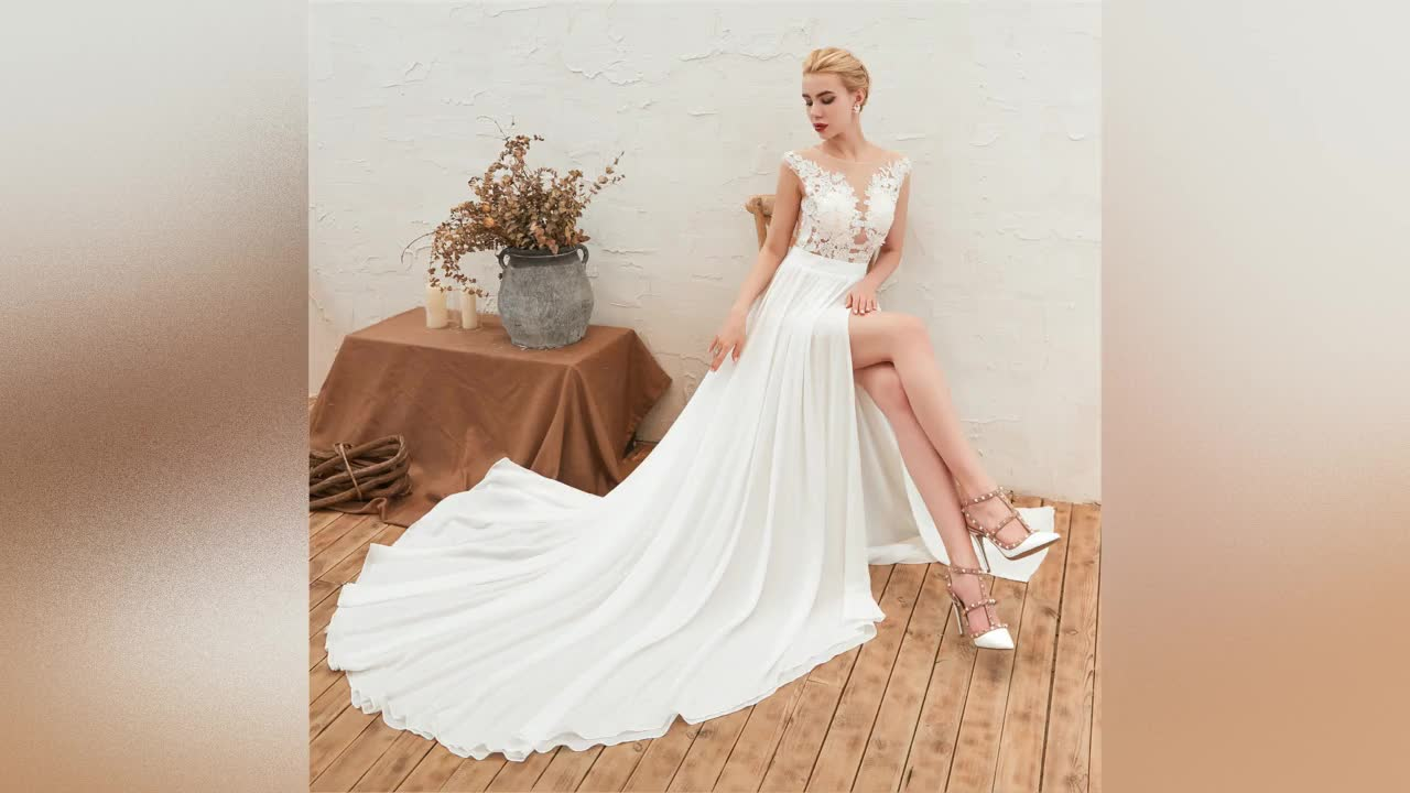 Cheap Wedding Dresses 2019 White Lace Wedding Gowns Simple Bridal Dresses Africa Bridal Gowns with Split L23247