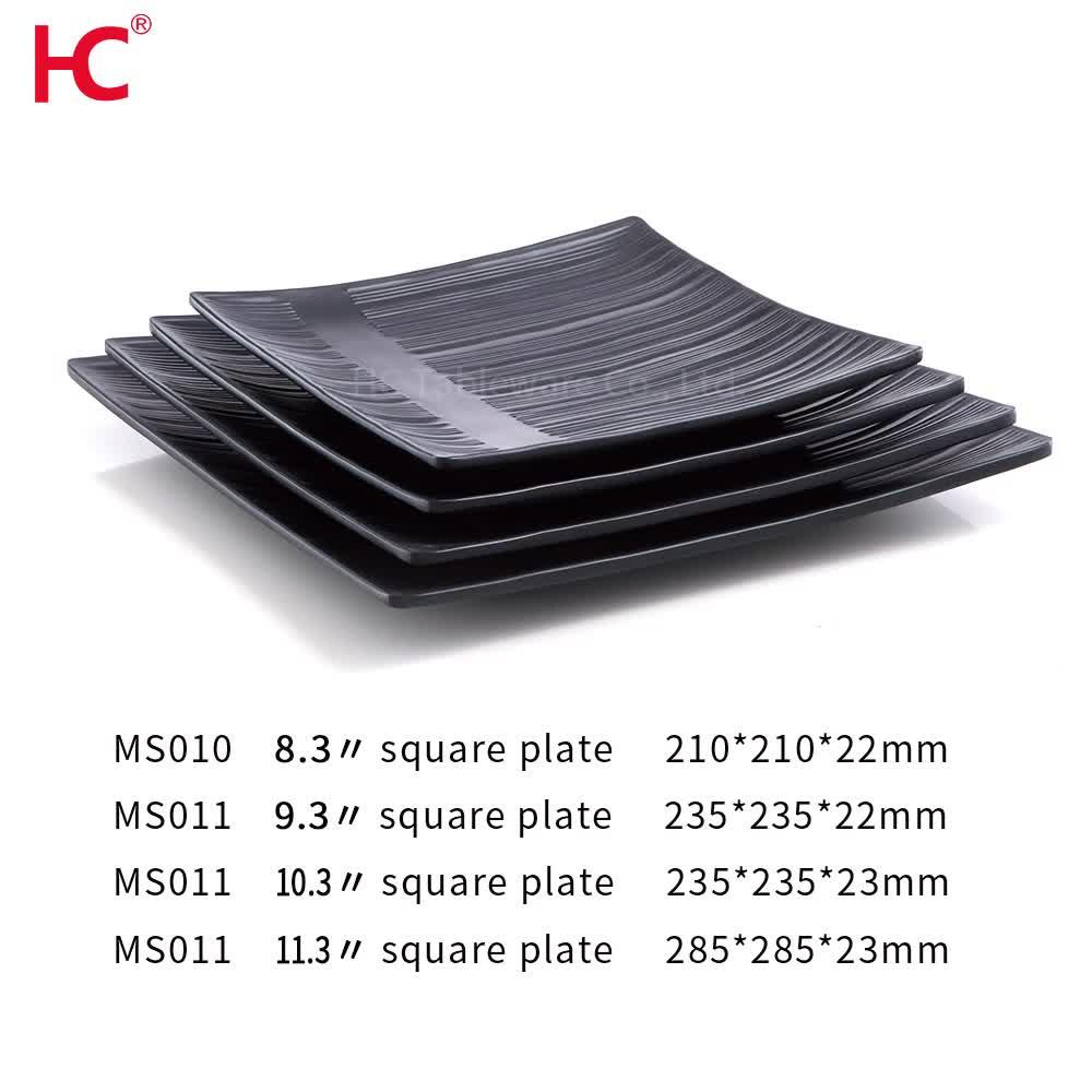 Black Pottery color 8.3 9.3 10.3 inch sushi dinner set plate 100% melamine tableware dinnerware set square plates plastic plate