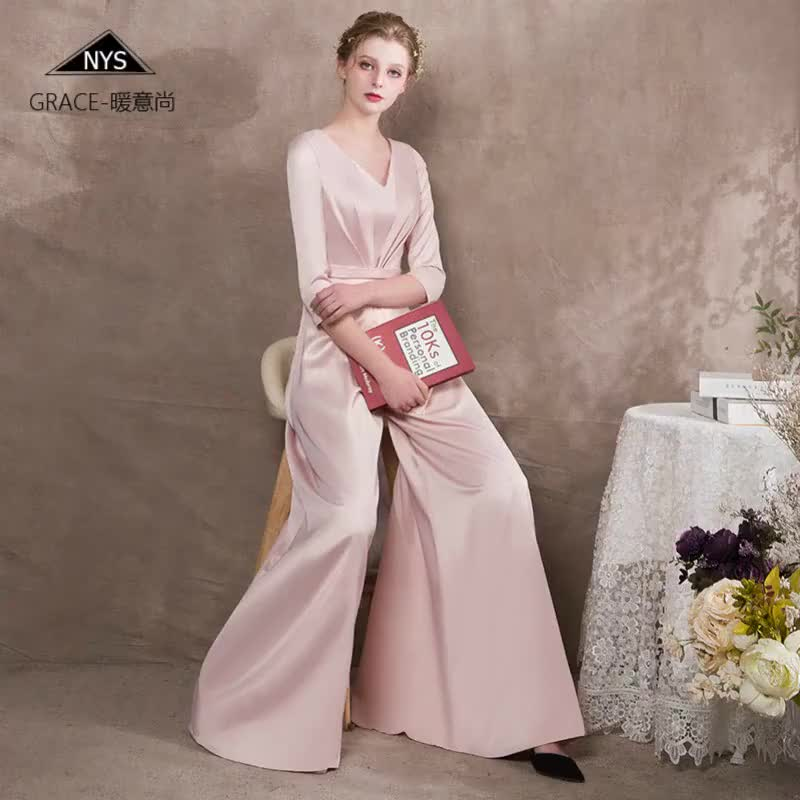 2019 Pink Jumpsuit Three-quarter Sleeve Elegant Party Banquet Gown Wide Leg Pants Dress Stain Jumpsuits