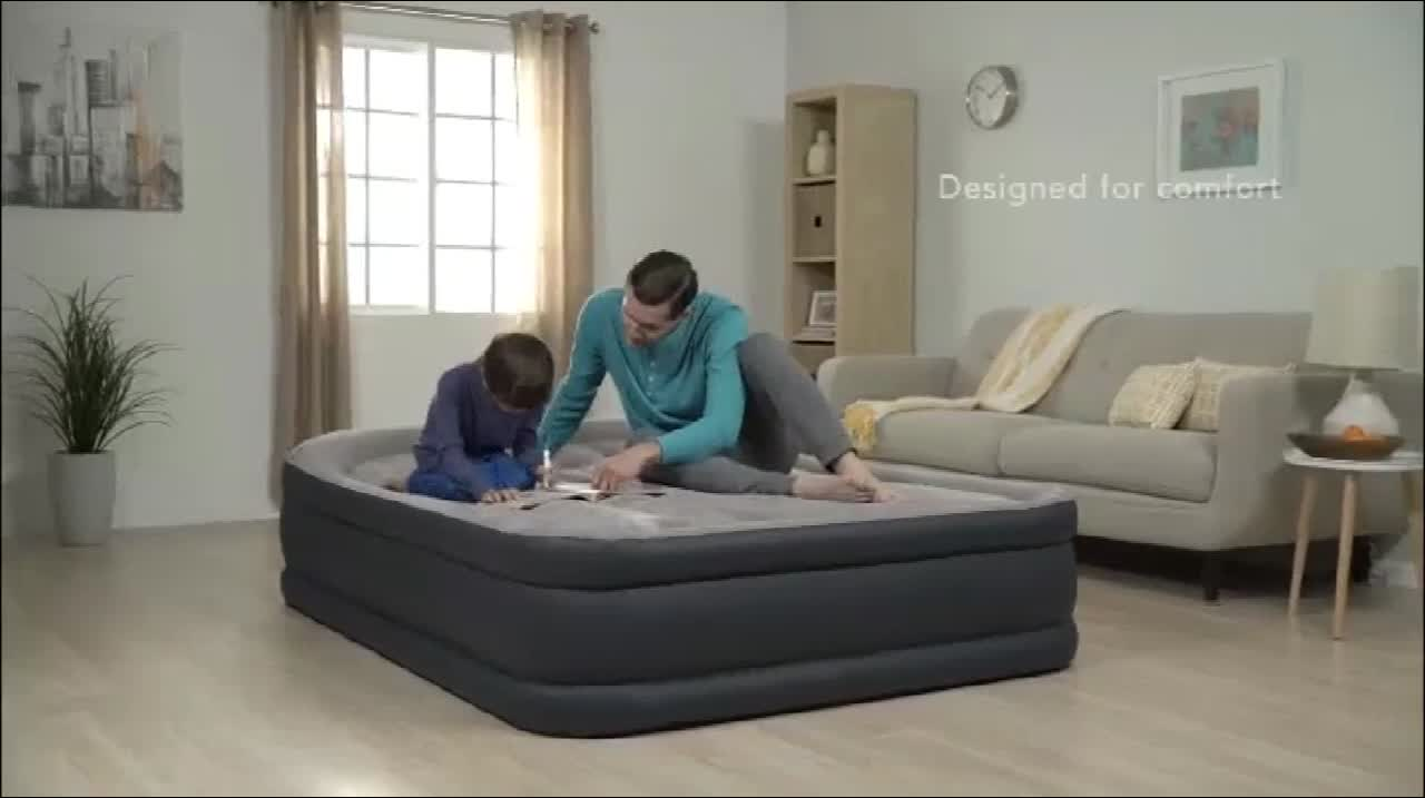 Share Intex 64448 inflatable air bed queen size dura-beam inflatable air mattress