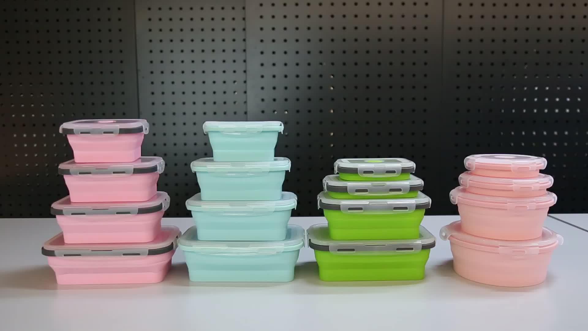 Складная Bpa бесплатно микроволновая печь многоразовые герметичным складные контейнеры складной хранения продуктов питания 4 силиконовые Ланч-бокс бэнто наборы для ухода за кожей
