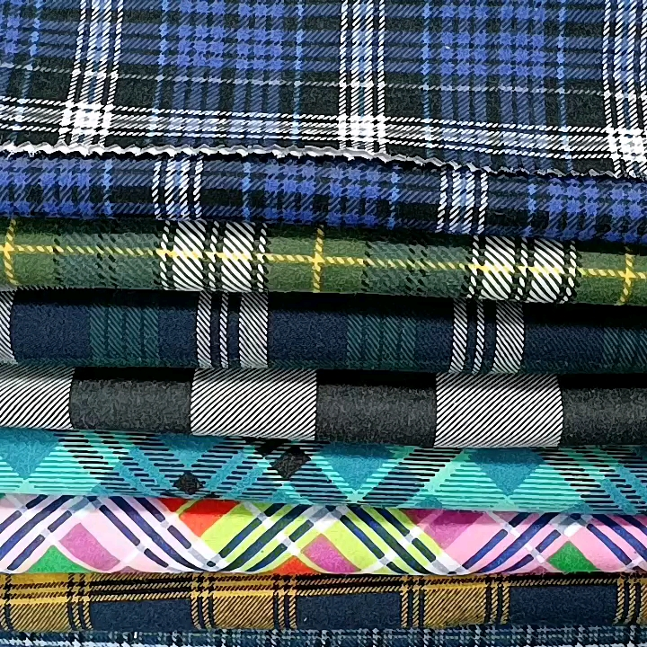 Popular men/women shirt fabric cotton tartan plaid yarn dyed flannel fabric