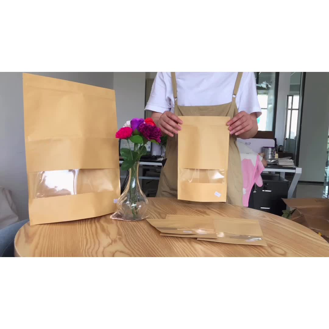 Free samples Standing Up Pouches Brown Kraft Paper Bag with Window