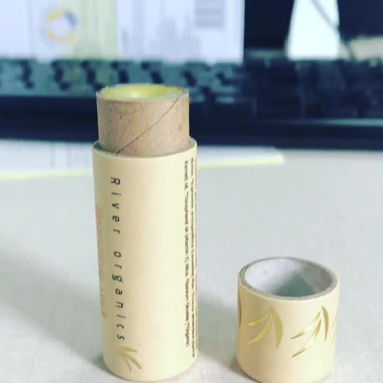 Eco friendly packaging box cosmetic kraft paper tubes biodegradable push up lip balm paper tube