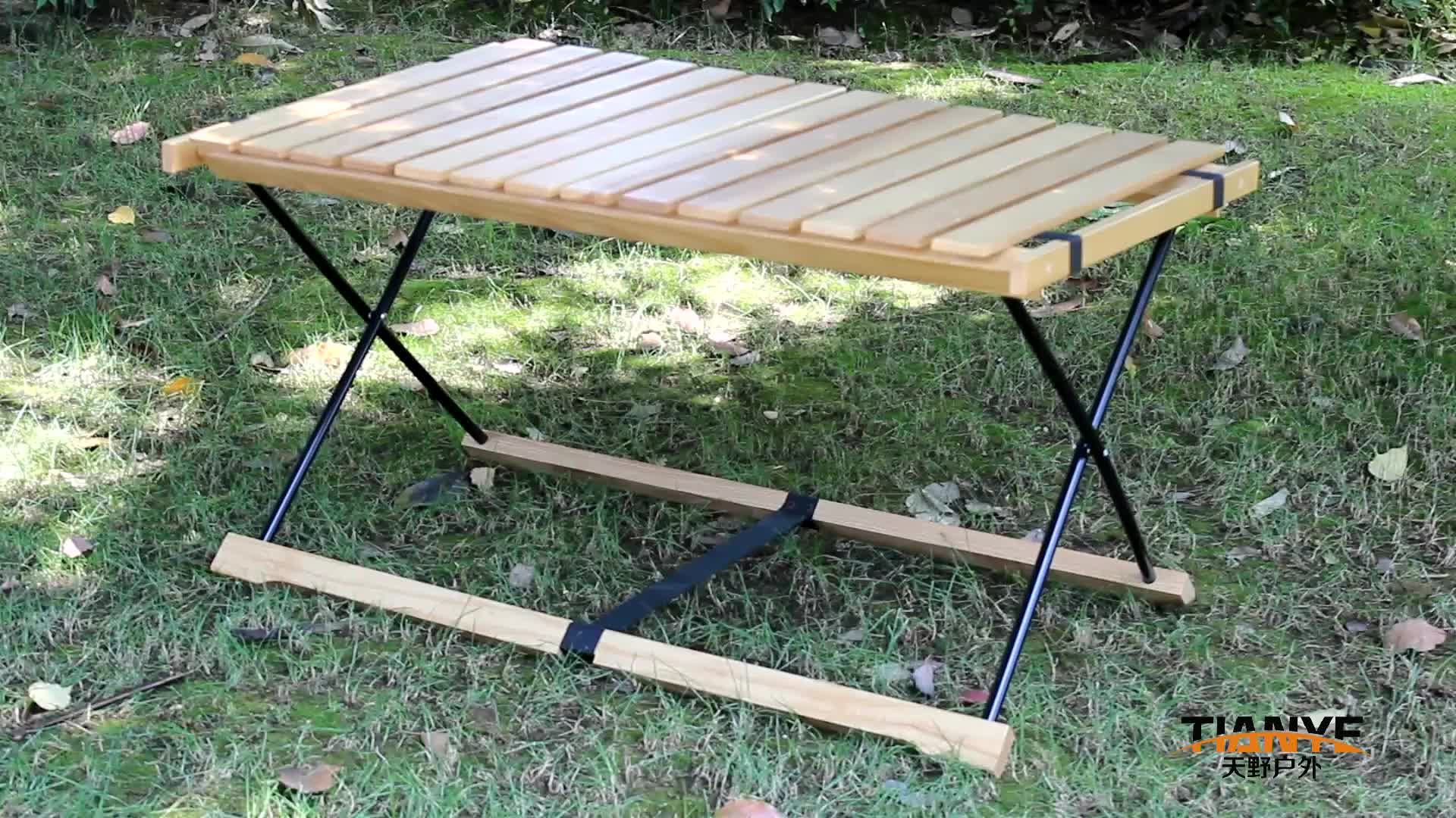 Tianye nice wood slat roll up foldable wooden picnic table  compact lawn camping table