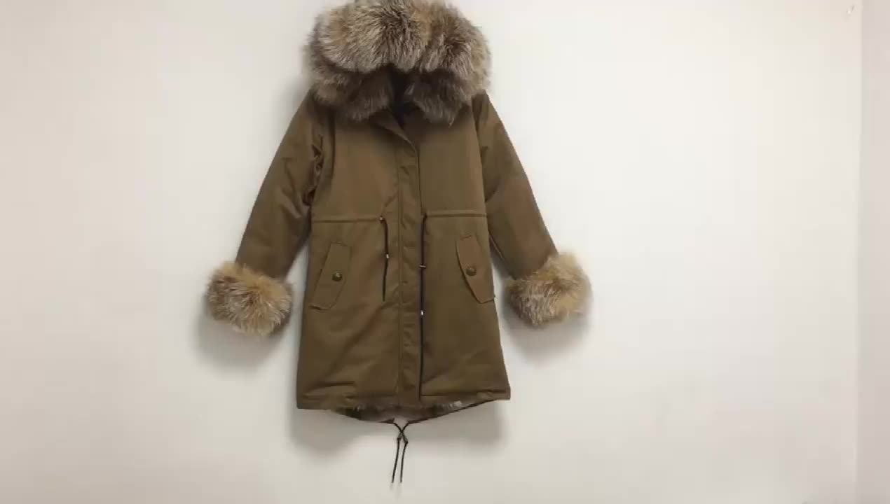 UK luxury real fox fur lined outwear fall clothing for women