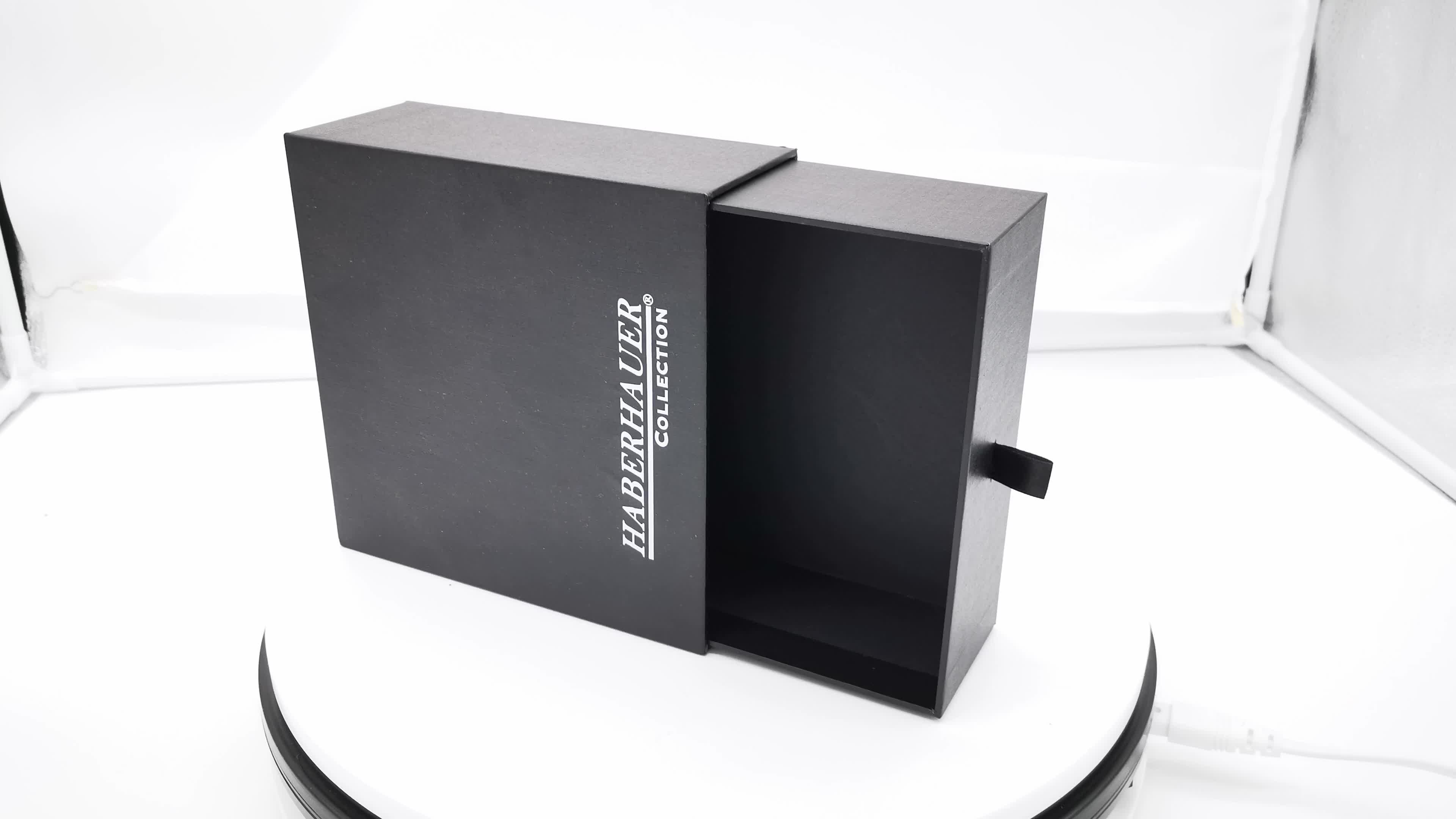 Luxury matte black sliding drawer jewelry gift boxes wholesale Jewelry Box
