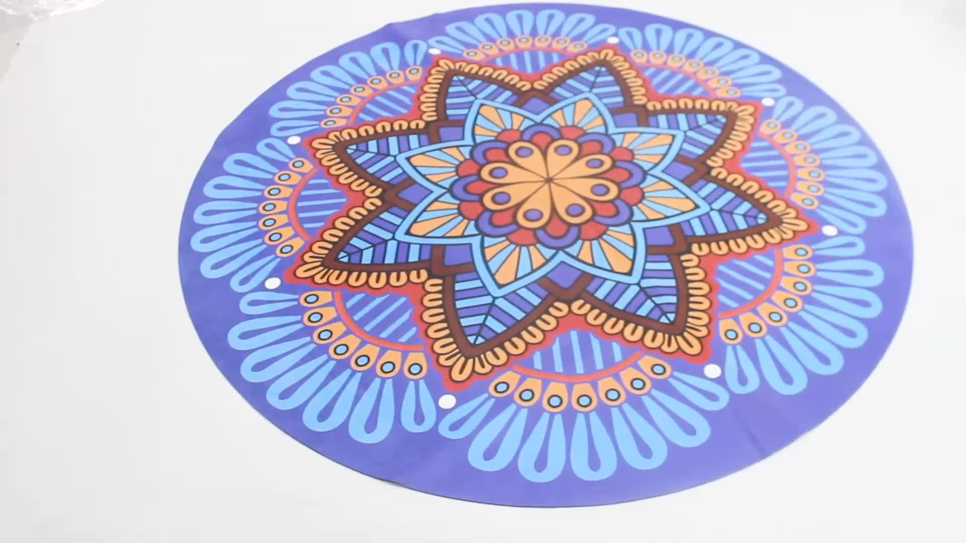 Custom Label Natural Rubber Round Circle Suede Yoga Mat For Fitness