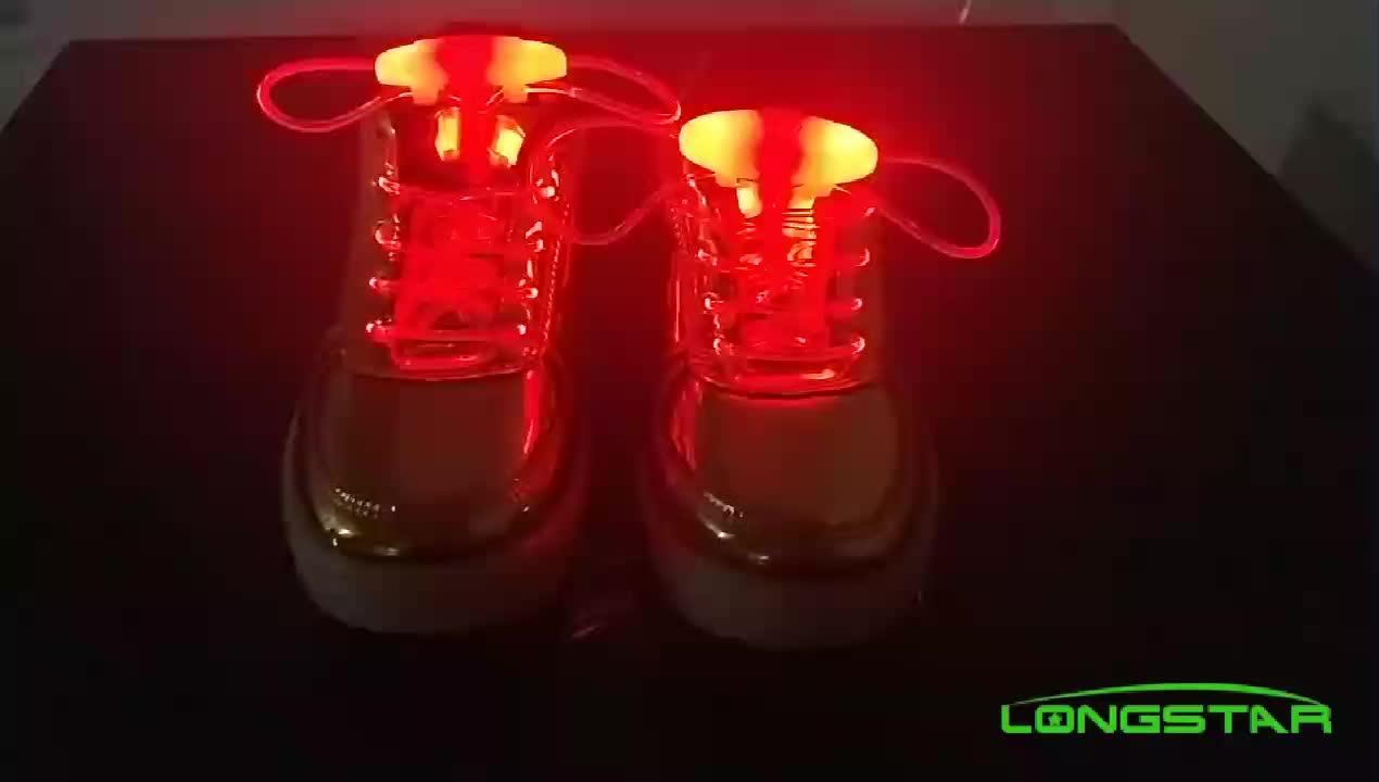 סיטונאי יצרנית עגול אופנה מותאם אישית לוגו צבעוני קסם מהבהב זוהר אור TPU נעל שרוכי שרוך שרוכי LED