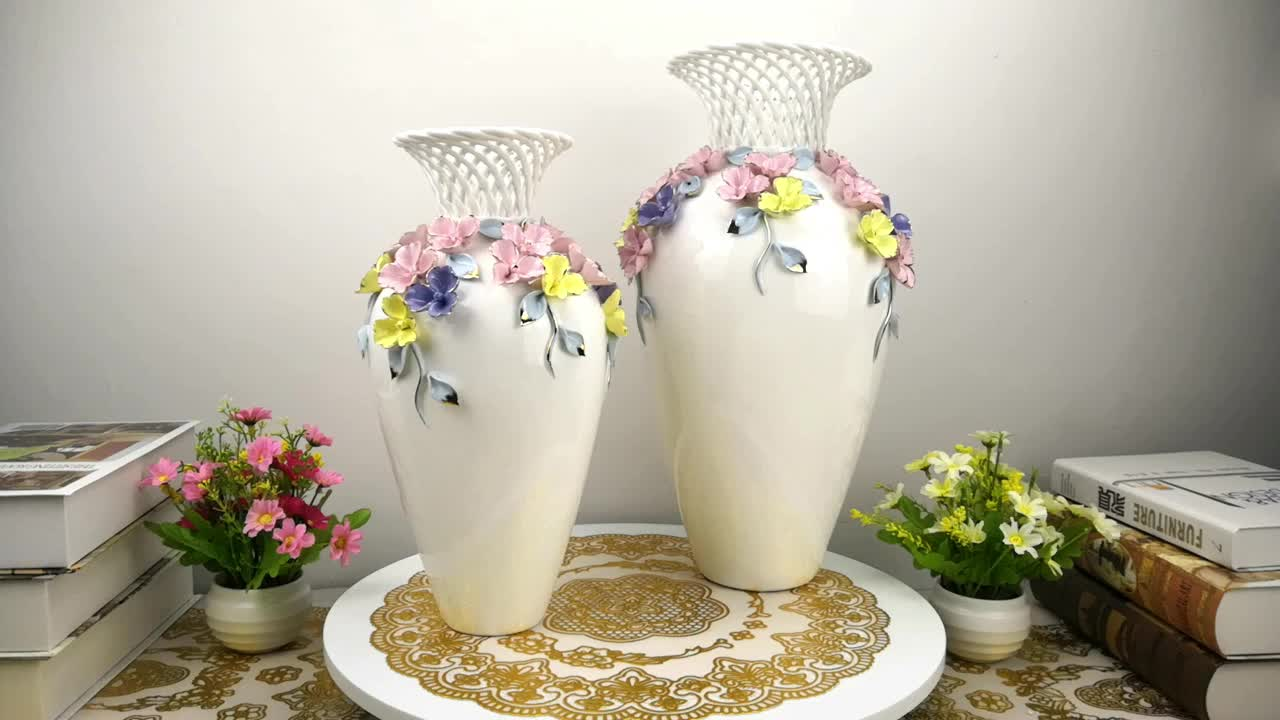 Luxury designer ideal home decoration elegant flower ceramic vase