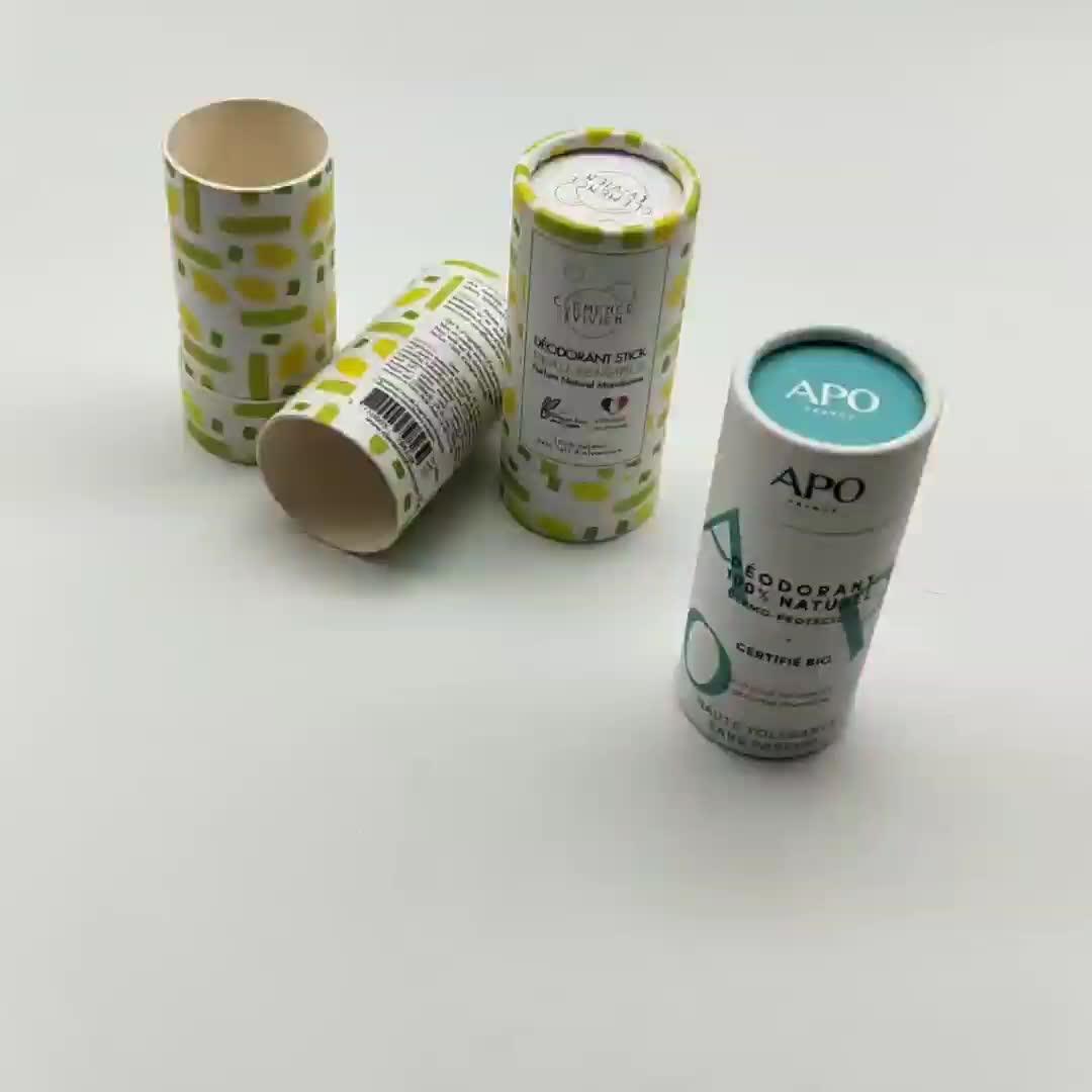 100% recycled 2oz 60g black plain push up paper tube deodorant packaging