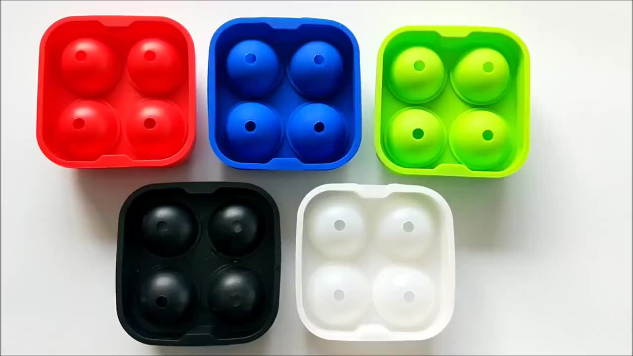 Custom Logo 100% Silicone 3D ball ice cube tray ice cube molds with lid