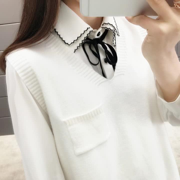 Style coréen 2019 poche avant couleur unie pull gilet femmes