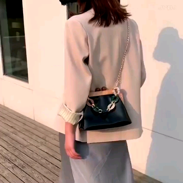 Shenglu 2020 new super hot fashion personality small bag female Korean wooden clips pvc girlish shoulder Messenger Bags