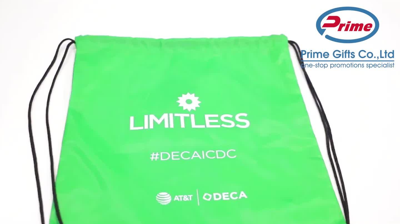 2020 Custom Logo Printed 210D Polyester Drawstring Bag for Promotions