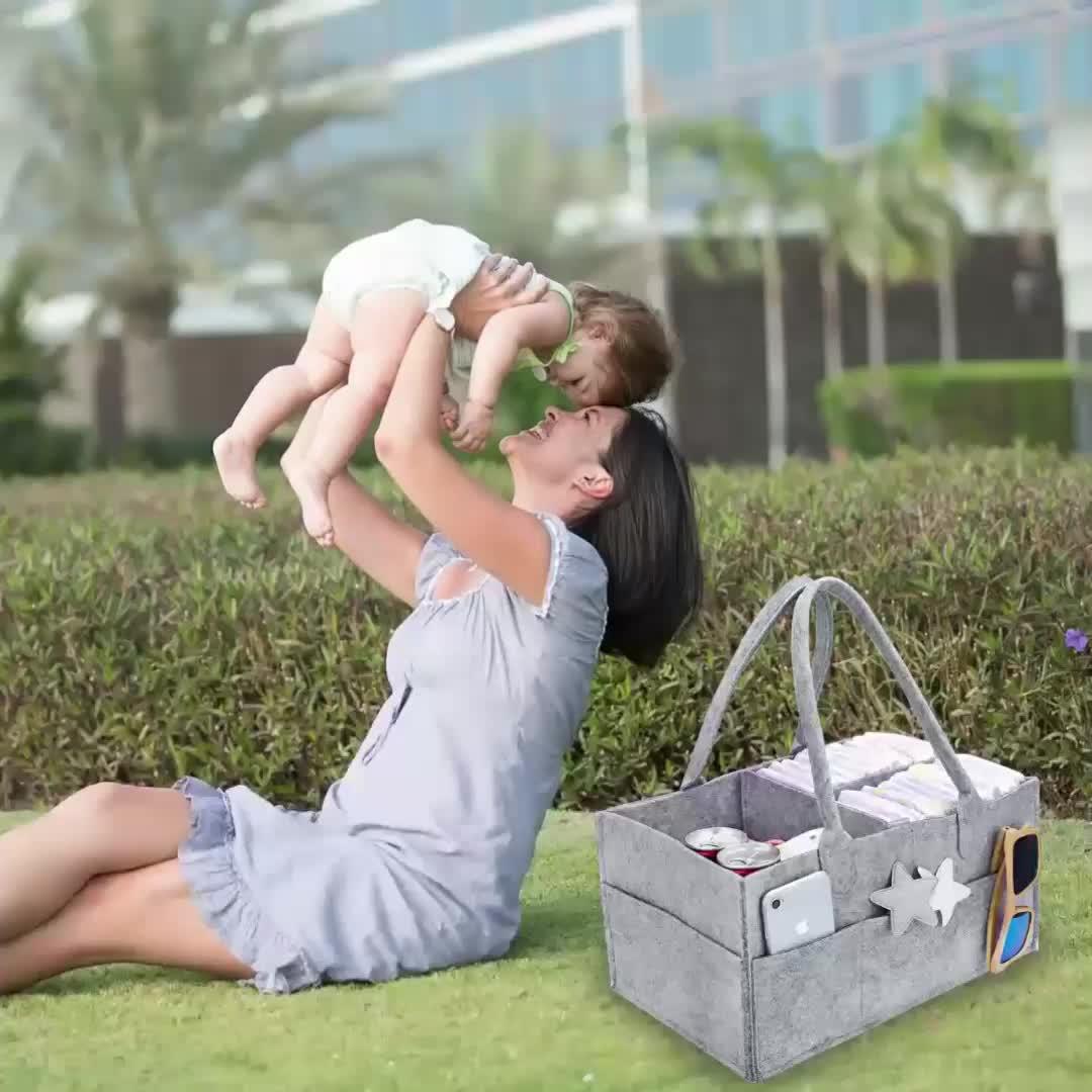 Portable Mummy Bag Tote Storage Organizer Hangingnursery Felt Baby Caddy Diaper Organizer