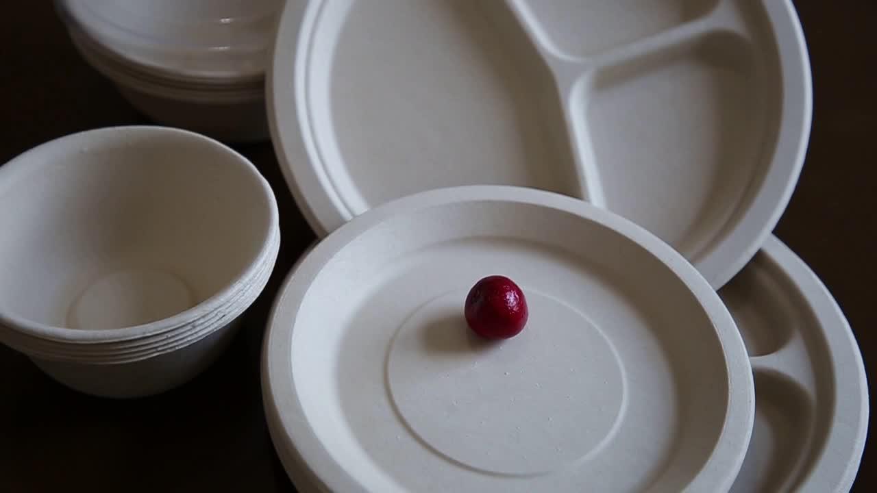 रेस्तरां Tableware बांस फाइबर डिस्पोजेबल दौर प्लेट