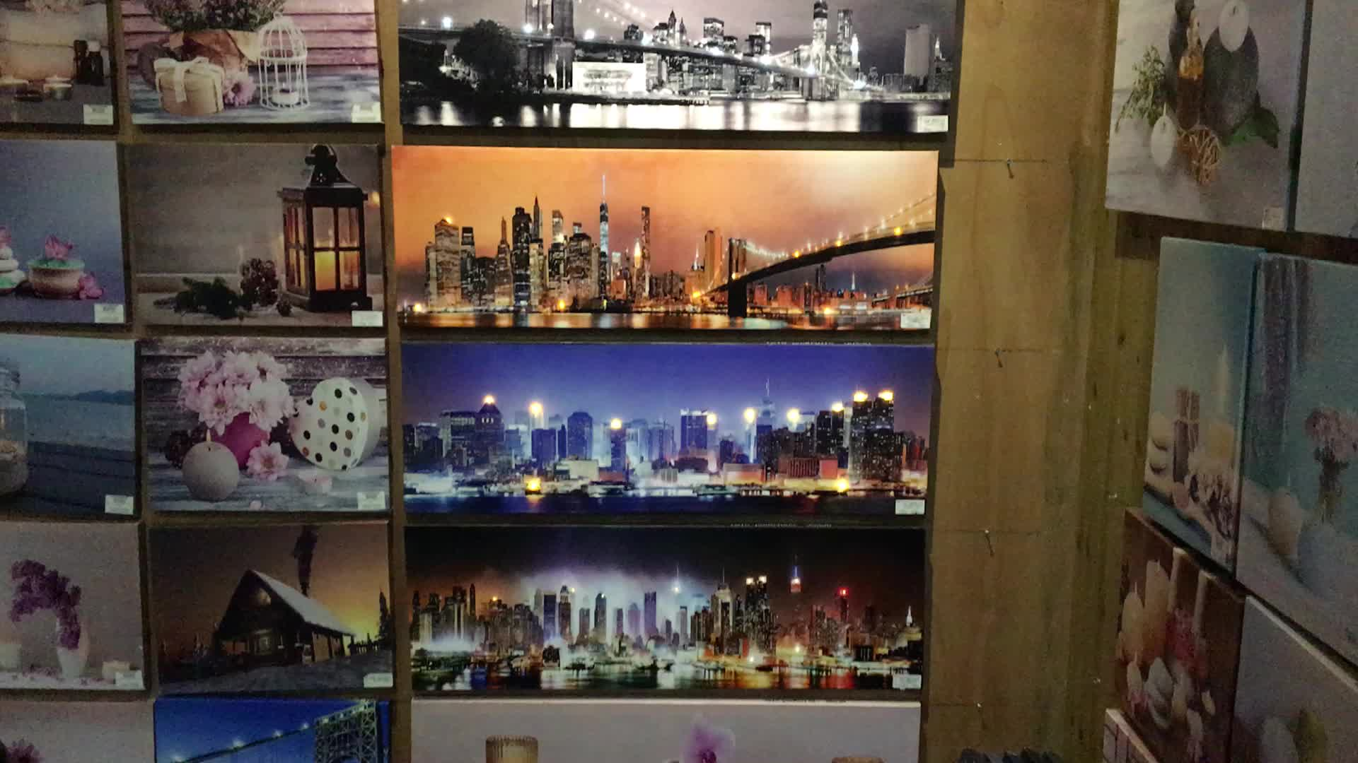 Scenery art picture prints led canvas painting, canvas print for home decoration